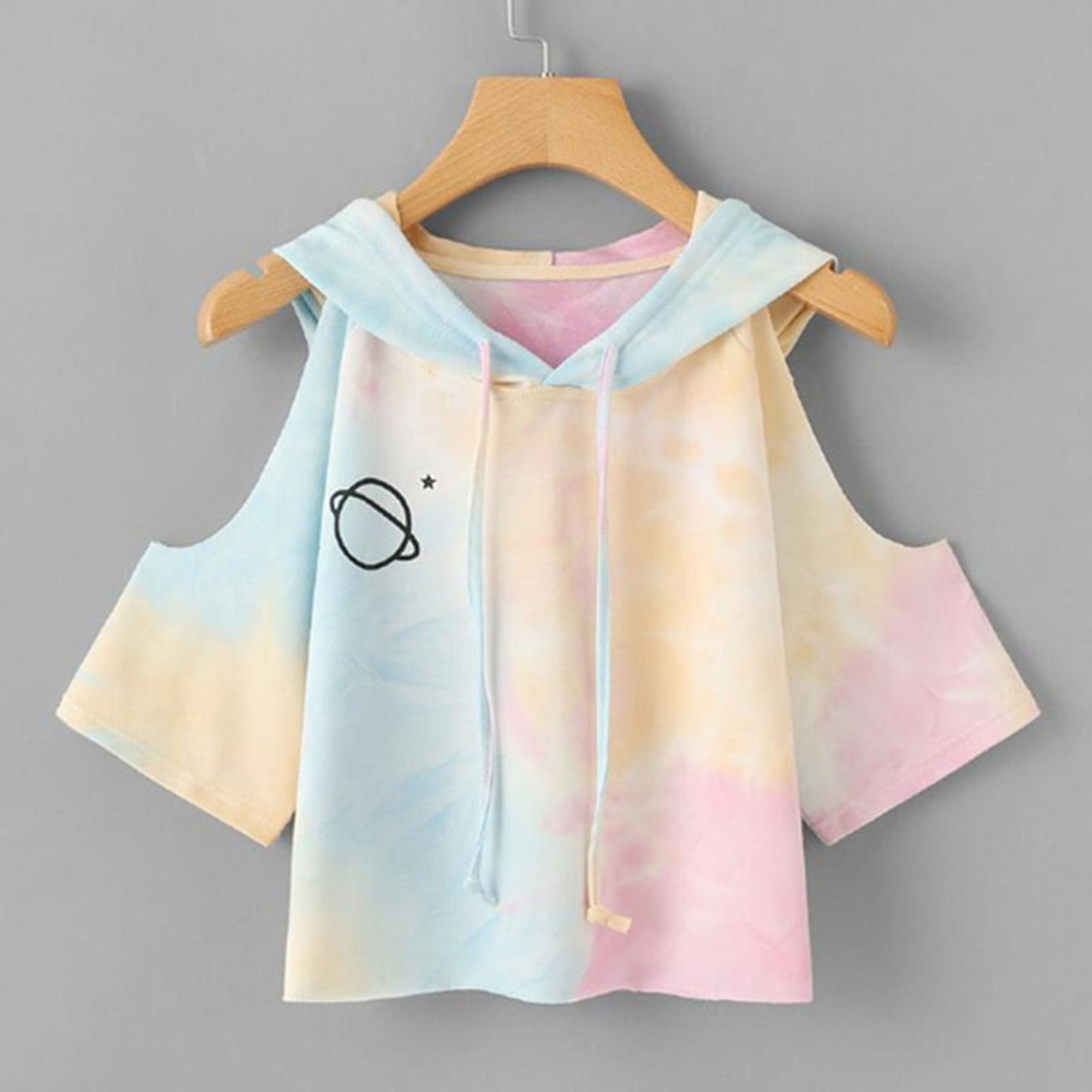 d249414f170 Galaxy Rainbow Tie Dye Planet Cold Shoulder Crop Top T-Shirt Hoodie Sweater