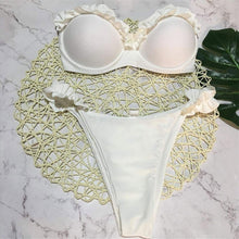 Cute Ruffle Bikini for Teens Modest Simple Strapless Bandeau Two Piece Swimsuit Bathing Suit for Women - www.GlamantiBeauty.com #swimwear