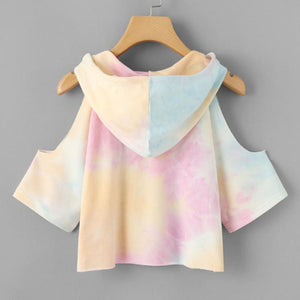 Cute Casual  Back to School Outfit Ideas for Teens 2018 - Summer Tye Dye Cold Shoulder Crop Top T-shirt Hoodie- Ideas casuales de regreso a la escuela de verano -  www.GlamantiBeauty.com