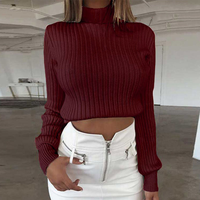 Cute Fall Going Out Outfit Ideas for Women - Burgundy Red White Black Ribbed Turtle Neck Cropped Sweater - Linda caída saliendo de ropa para mujer -  www.GlamantiBeauty.com