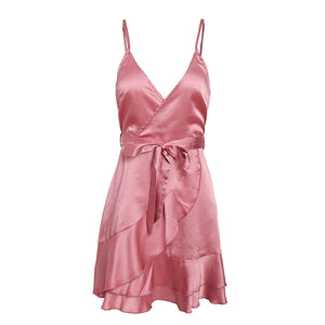 Mirabelle Spaghetti Strap Silky Satin Ruffle Wrap Mini Dress in Pink For Valentines Date Outfit Ideas  - www.GlamantiBeauty.com