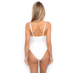 Cute Cut Out One Piece Swimsuit for Teens - Slimming High Waisted Monokini Two Piece Bikini with Tie Up Bow Front for Women in White / Black - traje de baño lindo cortado para las mujeres - www.GlamantiBeauty.com #swimwear
