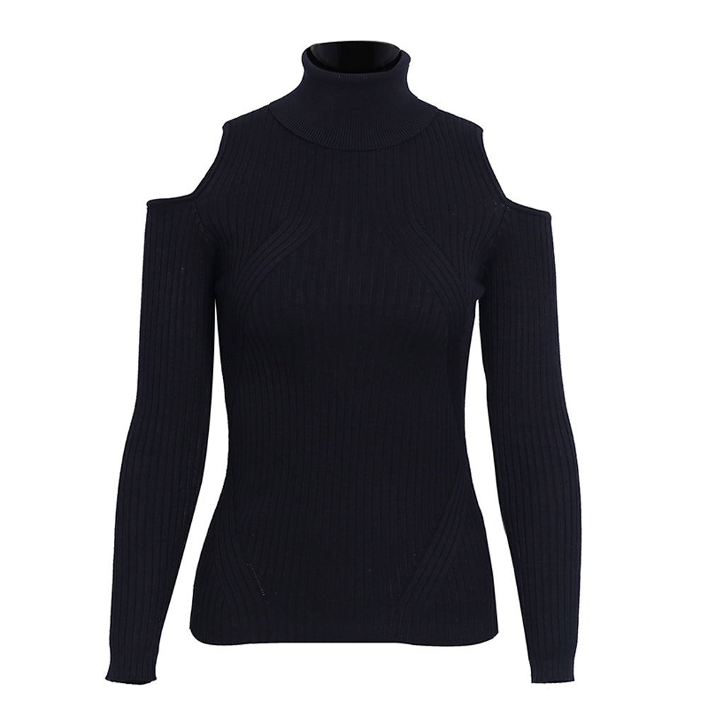Olivia Turtle Neck Cold Shoulder Knitted Ribbed Sweater Top - Black - www.GlamantiBeauty.com