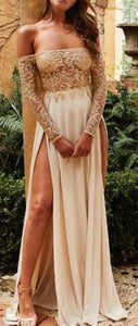 Princess Prom Dresses Long with Sleeves - Elegant Off the Shoulder Sparkly Glitter Mesh Graduation Maxi Dress with Slit in Cream Beige for Homecoming Evening Party - Vestidos largos de princesa - www.GlamantiBeauty.com #promdresses