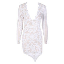 Camilia Floral Sequin Asymmetrical V Neck Long Sleeve Bodycon Mini Dress in White - www.GlamantiBeauty.com