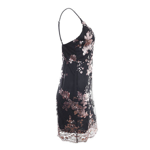 Ariana Floral Rose Gold Sequin Strappy Fitted Black Mini Dress for Classy Clubbing Cocktail Party Outfit Ideas - www.GlamanitBeauty.com