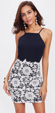 Cute Casual Summer Short Dress Outfit Ideas for Teen Girls for Teenagers School - Blue Halter Neck White Floral Lace Fitted Mini Dress Spring - ideas de atuendo de verano corto casual lindo para niñas adolescentes - www.GlamantiBeauty.com