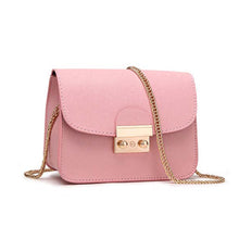 Miranda Cute Gold Lock Crossbody Pleather Chain Flap Shoulder Purse Bag in Pink - www.GlamantiBeauty.com