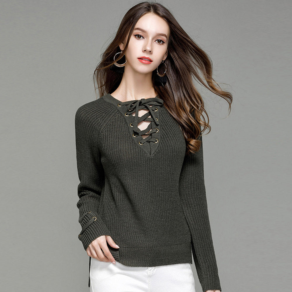 ... Cute Casual Spring Outfit Ideas for Teen Girls for School - Lace Up  Criss Cross Knitted ... 6e294c5e9