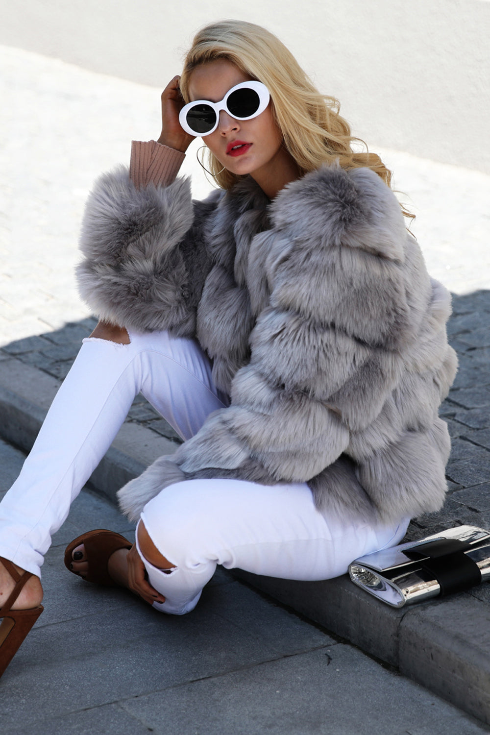 Vivienne Quilted Faux Fur Short Puffy Bomber Jacket