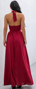 Unique Red Long Prom Dresses - Beautiful Cutout Halter Neck Deep V Neck Floor Length Gown Maxi Backless Dress with Slit - Vestidos de baile largos azules únicos - www.GlamantiBeauty.com #promdresses