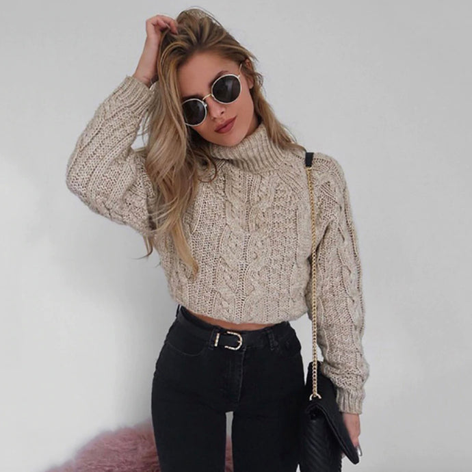 Cute Fall Outfit Ideas for Teens Girls Cable Knit Turtle Neck Cropped Sweater - lindas ideas de ropa de invierno para mujeres - www.GlamantiBeauty.com