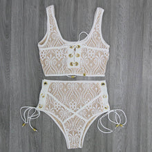 Cute Lace High Waisted Bikini for Teens - Trendy Popular Flattering Slimming Tie Up Corset Two Piece Bikinis Midikini for Women in White / Black / Red / Yellow - bikini de encaje lindo para mujer www.GlamantiBeauty.com #swimwear