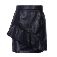 Black Leather Ruffle Zipper High Waisted Mini Skirt - www.GlamantiBeauty.com