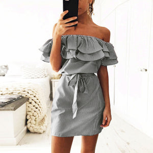 Cute Summer Outfit Ideas for Women - Korean Trendy Off the Shoulder Striped Ruffle Mini Dress - lindo traje de verano Ideas para mujeres - ww.Glamantibeauty.com #dresses