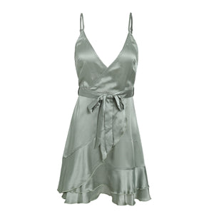 Mirabelle Spaghetti Strap Silky Satin Ruffle Wrap Mini Dress in Grey For Valentines Date Outfit Ideas  - www.GlamantiBeauty.com