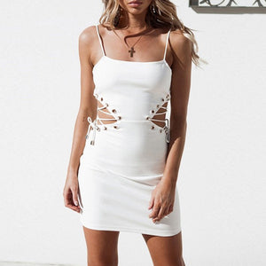 Cute Outfit Ideas for Summer Party Clubbing Going Out White Mini Cut Out Lace Up Tight Fitted Short Dress for Teens - www.GlamantiBeauty.com #dresses