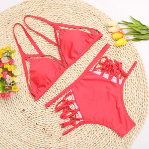 Trendy Unique Strappy Bikini - High Waisted Two Piece Swimwear in Black, White, Red - www.GlamantiBeauty.com