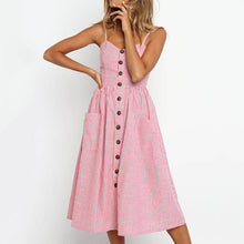 Cute Casual Summer Dresses Outfit Ideas for Women - Red and White Striped Midi Dress with Button Up Front - vestidos de verano casuales ideas de atuendos para mujeres - www.GlamantiBeauty.com #dresses
