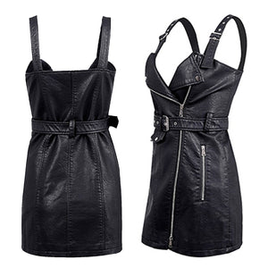 Ride or Die Edgy Leather Motorcycle Moto Zipper Belted Mini Dress