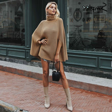 Classy Work Outfit Ideas for Women High Fashion Model Clothes Knitted Turtle Neck Conch Cloak Jacket Dress - Ideas elegantes del equipo del trabajo para las mujeres  - www.GlamantiBeauty.com