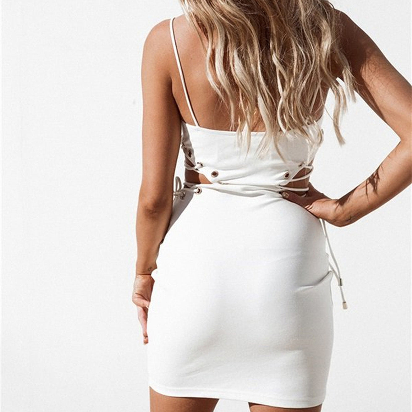 fcf3ebd8aa7ff Cute Outfit Ideas for Summer Party Clubbing Going Out White Mini Cut Out  Lace Up Tight ...