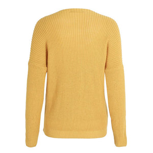Rory Oversized Wrap Knitted Sweater Top - Mustard - www.GlamantiBeauty.com