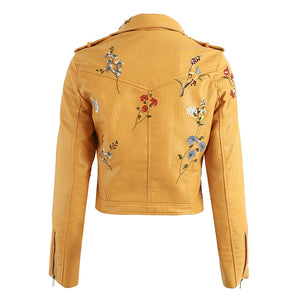 Tess Flower Embroidery Motorcycle Cropped Leather Jacket - Yellow - www.GlamantiBeauty.com