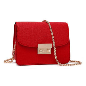 Miranda Cute Gold Lock Crossbody Pleather Chain Flap Shoulder Purse Bag in Red - www.GlamantiBeauty.com