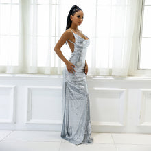 Gorgeous Backless Prom Dresses - Sparkly Sequin Silver Tight Fitted Slit Floor Length Mermaid Maxi Gown Dress 2018 to Wear to a Wedding as a Guest Cocktail Party Graduation Evening - www.GlamantiBeauty.com #promdresses