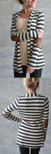 Casual Chic Winter Outfit Ideas for Women Fashion Style 2018 Striped Cardigan Sweater with Leggings with Brown Boots - www.GlamantiBeauty.com