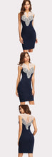 Classy Evening Dresses Outfit Ideas for Women for Work or Cocktail Party - Beautiful Elegant White Crotchet Lace Top Blue Bodycon Fitted Mini Dress - Vestidos elegantes de noche Ideas de vestimenta para mujer - www.GlamantiBeauty.com