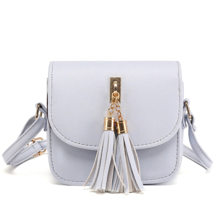 Avery Cute Pleather Crossbody Tassel Flap Designer Shoulder Purse Bag in Grey - www.GlamantiBeauty.com