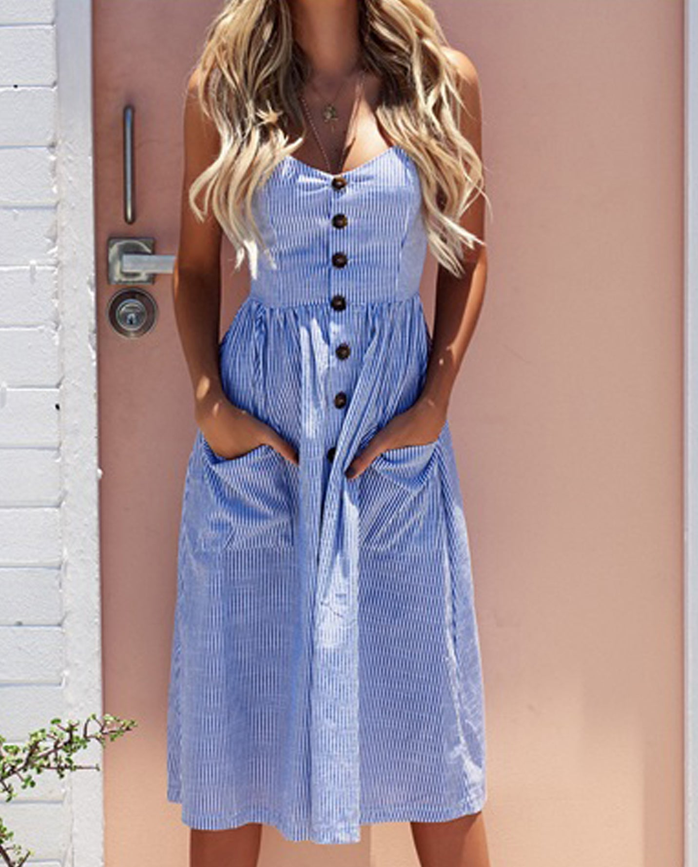 Cute Casual Summer Dresses Outfit Ideas for Women - Blue and White Striped Midi  Dress with ... ee12dfa77