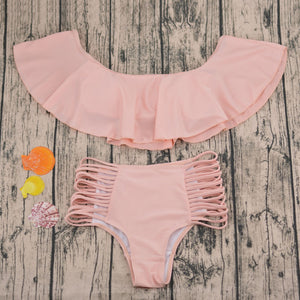 Cute Off the Shoulder Ruffle Bikini for Teens for Junior -Strappy Two Piece Swimsuit for Women in Pink, Black, Brown  for the Beach or Vacation Outfit Ideas - ideas lindas del equipo de la playa del traje de baño para adolescencias - www.GlamantiBeauty.com #swimwear
