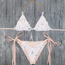 Hot Triangle Bikini for Small Chest Hot Crotchet Flower Lace Rhinestone Beach Two Piece Swimsuit 2018 - bikini triángulo de encaje blanco para mujer - www.GlamantiBeauty.com #swimwear