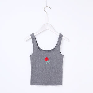 Casual Summer Tees Outfit Ideas for Teens Rose Embroidery Crop Top Tank for Women - www.GlamantiBeauty.com