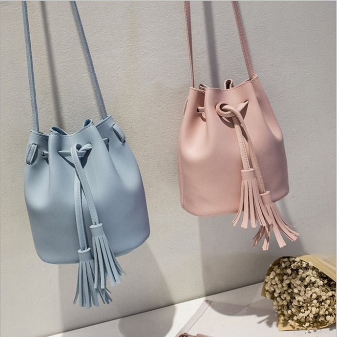 Mara Cute Pleather Drawstring Tassel Crossbody Bucket Shoulder Purse Bag - www.GlamantiBeauty.com