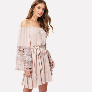 Cute Bohemian Dress Summer Outfit Ideas for Women Boho Ruffle Chiffon Mini Dresses for Teens - ideas de atuendo de vestido boho para mujeres  - www.GlamantiBeauty.com #dresses