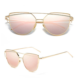 Rose Gold Cheap Designer Cateye Mirrored Lenses Oversized Sunglasses Reflective Mirror - 2018 Classic Summer Trend Trending www.GlamantiBeauty.com - Pink & Gold