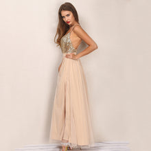 Cute Gold Long Prom Dresses - Elegant Glitter Sparkly Backless Chiffon Floor Length V NeckMaxi Dress with Slit for Graduation Homecoming to Wear to a Wedding as a Guest Spring Outfit Ideas - www.GlamantiBeauty.com #promdresses