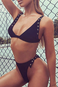 Sexy Black Bikini Cheek Buckle Rivets Two Piece Swimsuit Bathing Suit for Teens for Women - www.GlamantiBeauty.com #swimwear