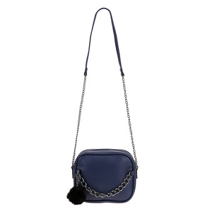 Juliette Classy Crossbody Zip Chain Shoulder Purse Bag with Fur Pom in Blue - www.GlamantiBeauty.com