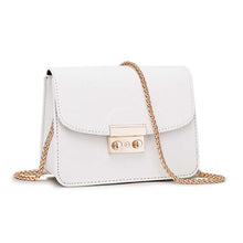 Miranda Cute Gold Lock Crossbody Pleather Chain Flap Shoulder Purse Bag in White - www.GlamantiBeauty.com