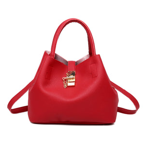 Fanny Pleather Gold Lock Large Shoulder Crossbody Purse Hobo Handbag Bag in Red - www.GlamantiBeauty.com
