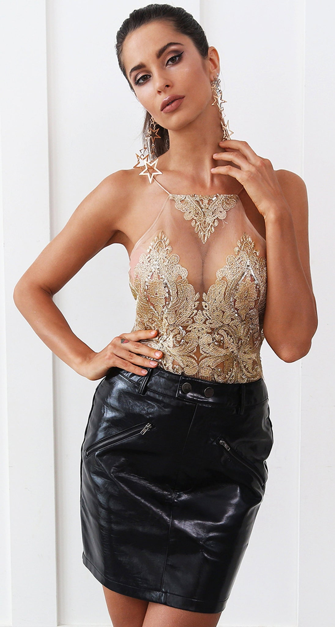 a9f146b64a ... New Years Eve Party Outfit Ideas for Women - Hot Clubbing Baddie Mesh  Gold Floral Sequin ...