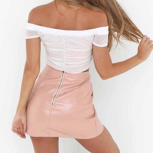 Trendy Chic Summer Night Outfit Ideas for Women 2018 - Hot Off the Shoulder Mesh Crop Top with Pink High Waisted Skirt - vestidos de verano ideas de vestimenta para mujer -www.GlamantiBeauty.com #dresses #outfits