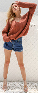 Cute Casual Spring Outfit Ideas for Teen Girls for School 2018 Shorts Oversized Knitted Sweater with Lace Up Back - www.GlamantiBeauty.com