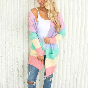 Cute Spring Outfit Ideas for Teens Girls Women Pastel Rainbow Knitted Cardigan Sweater - lindas ideas de ropa de primavera para mujeres - www.GlamantiBeauty.com