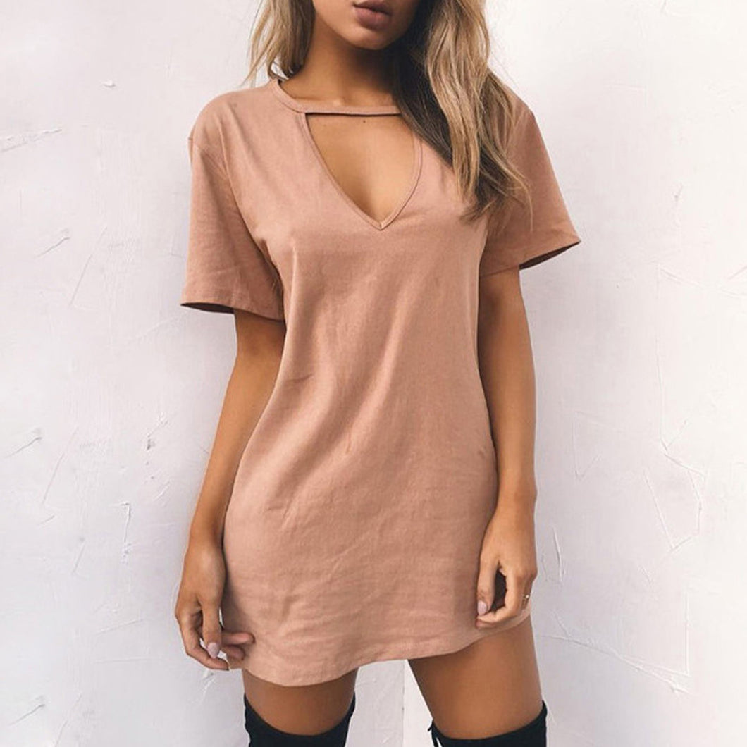 Casual Summer Outfit Ideas for Teens - T-Shirt Tees Tunic Mini Dress for Women - Vestidos de verano casuales Ideas de vestimenta para adolescentes - www.GlamantiBeauty.com #dresses